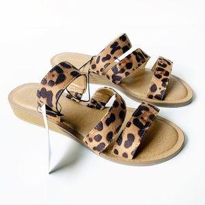NWT Lane Bryant Triple Strap Leopard Slides Sandal